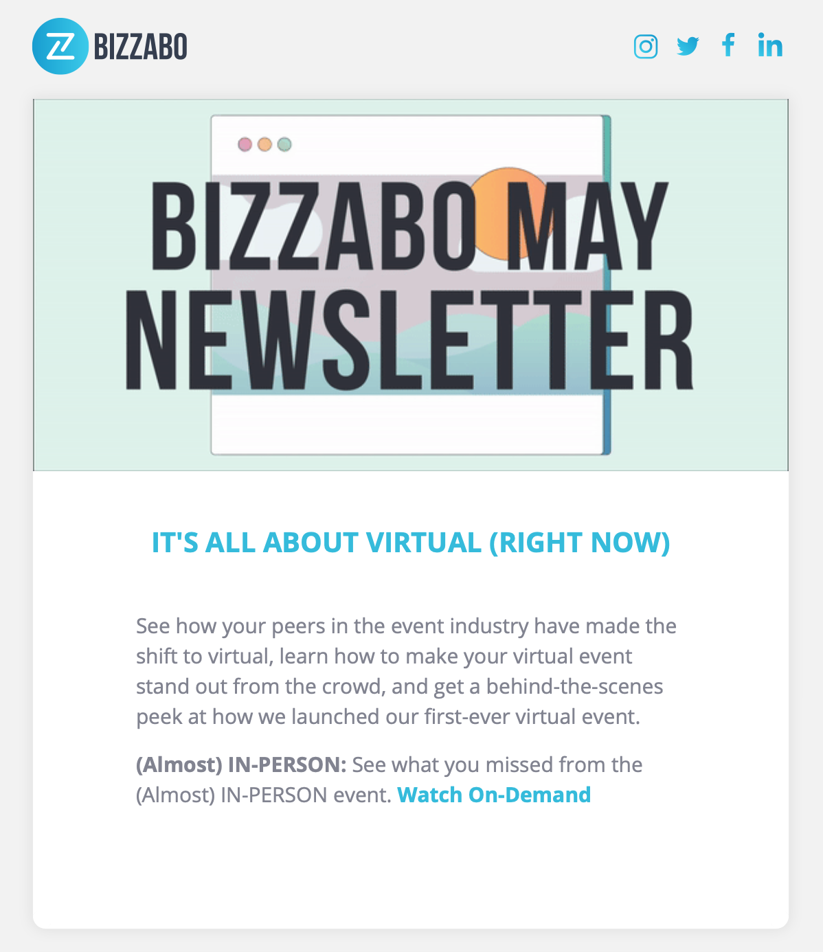 Bizzabo using a newsletter to help their audience shift to virtual events.
