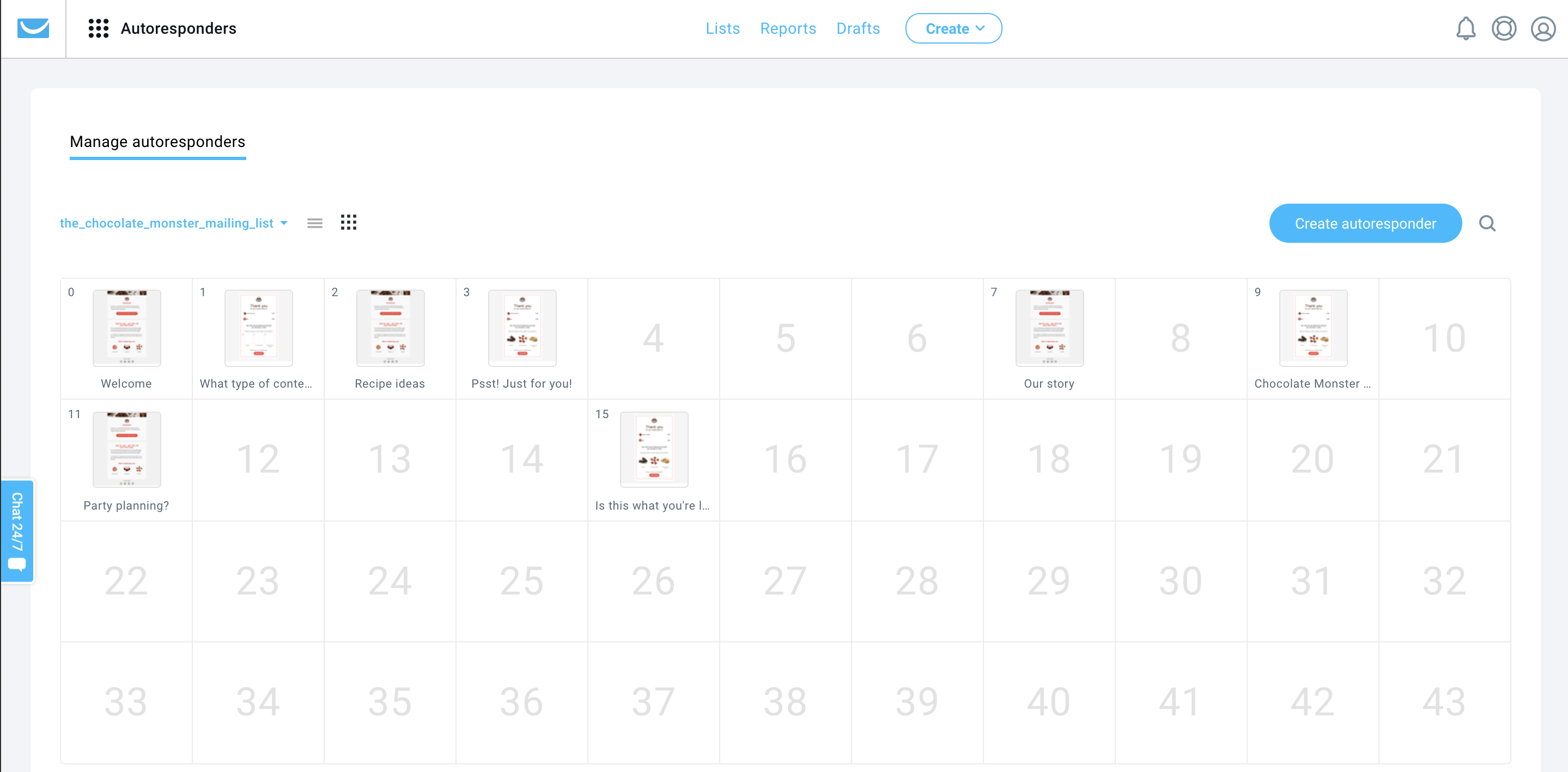 Autoresponders (email drip campaigns) in GetResponse – calendar view.