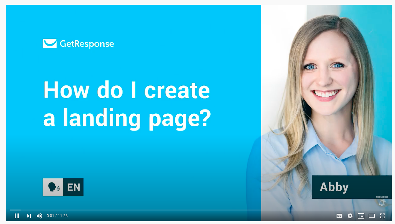 Video tutorial that shows you how to create a landing page inside of GetResponse.