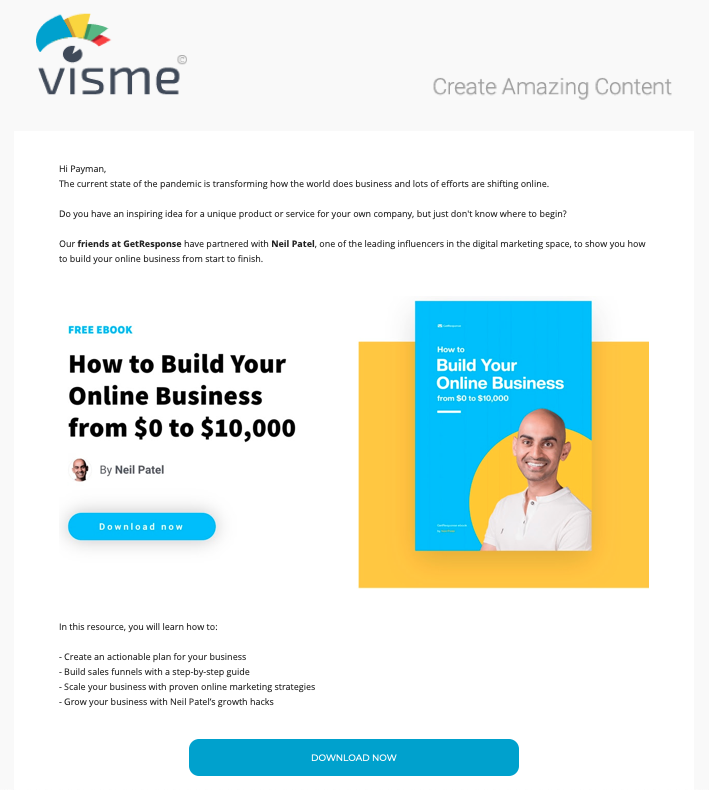 Example of an email campaign sent as part of our co-promotional campaign with Visme.