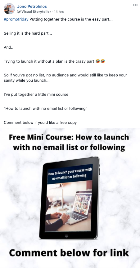 Example of a content promo post featuring a mini course published on Facebook.