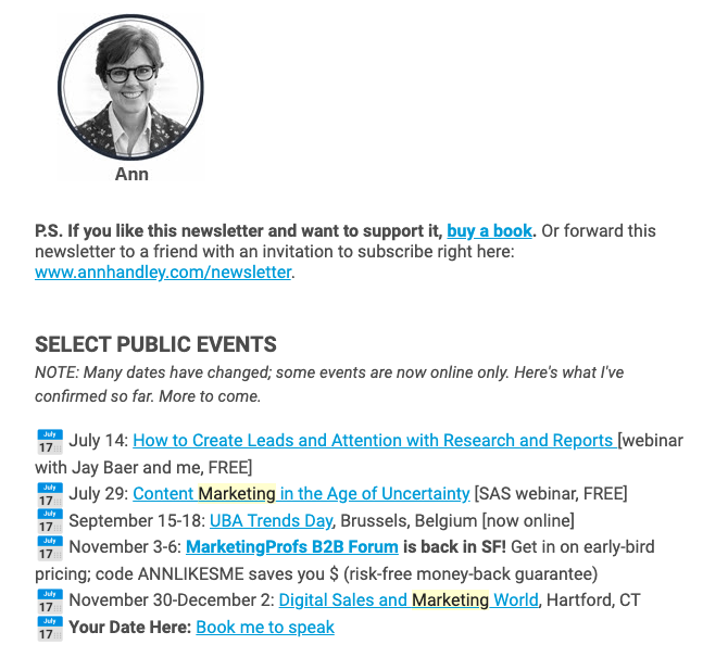 Showcasing all the webinars and events Ann Handley's taking part in – example from her email newsletter.