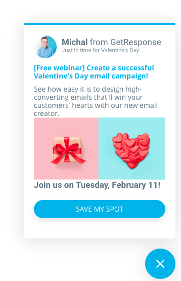 Example of a targeted pop-up used to promote a webinar.