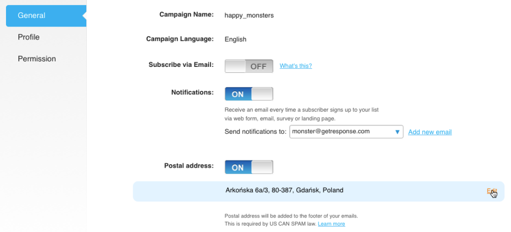 General campaign settings