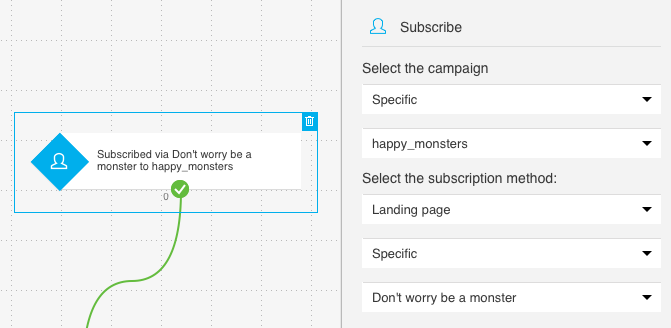 Example subscription settings