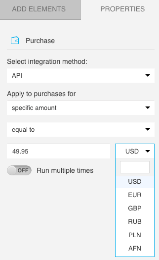 currency selection--listed options