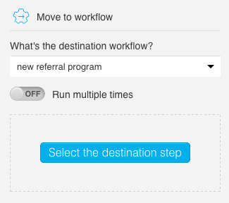 properties showing target workflow and destination step