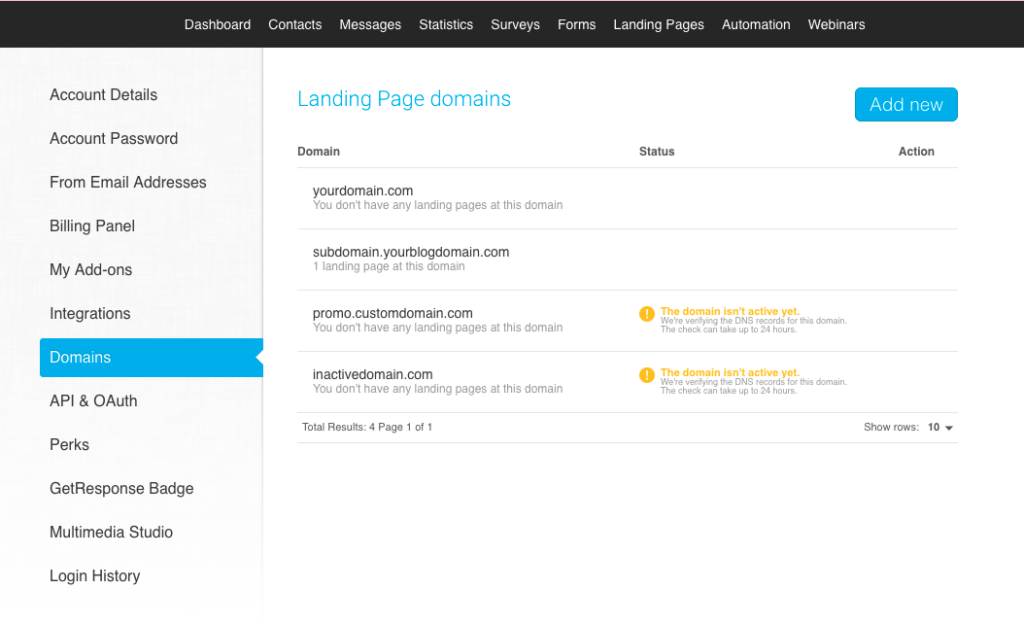 landing page domains view