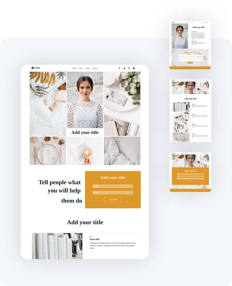 Сайт в ясных тонах демонстрирующий товары для женщин